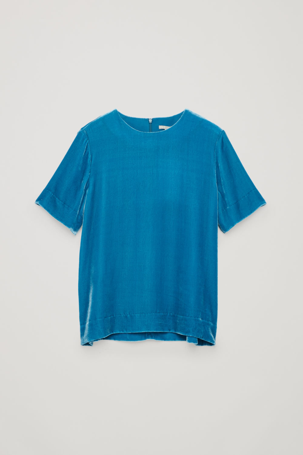 Front image of Cos short-sleeved velvet top in blue