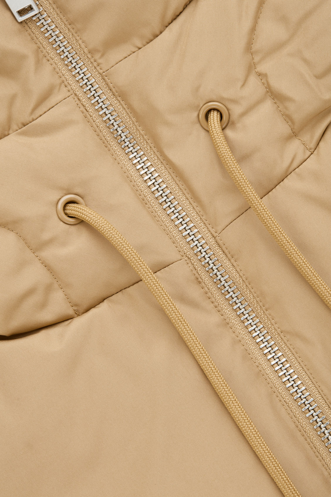 Side image of Cos padded hood in beige