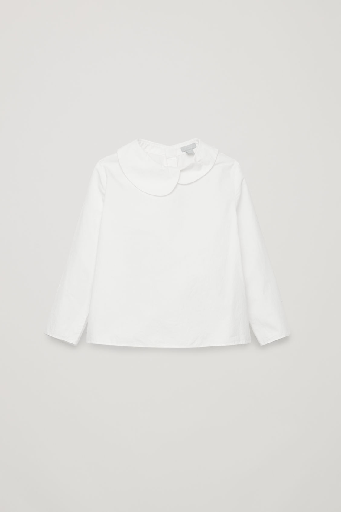 Front image of Cos asymmetric-collar cotton shirt in white