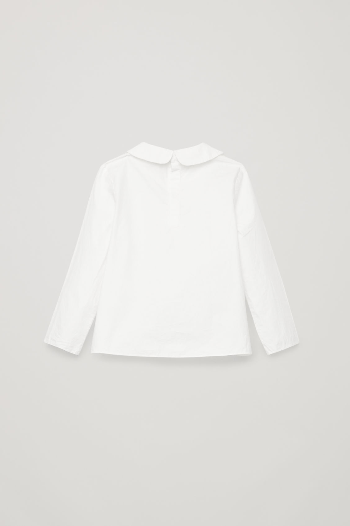 Side image of Cos asymmetric-collar cotton shirt in white