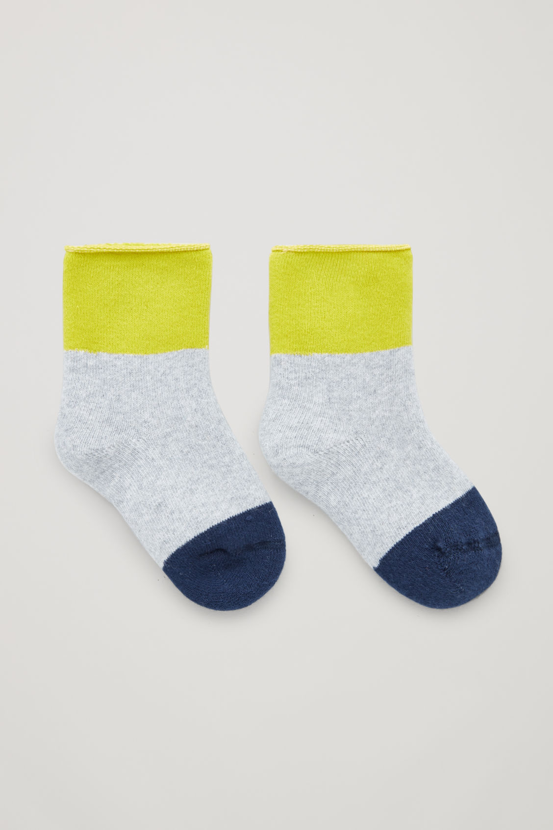 Front image of Cos baby colour-block socks in grey