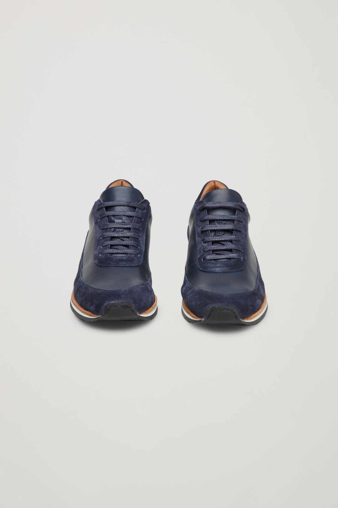 Side image of Cos suede-detail leather sneakers in blue