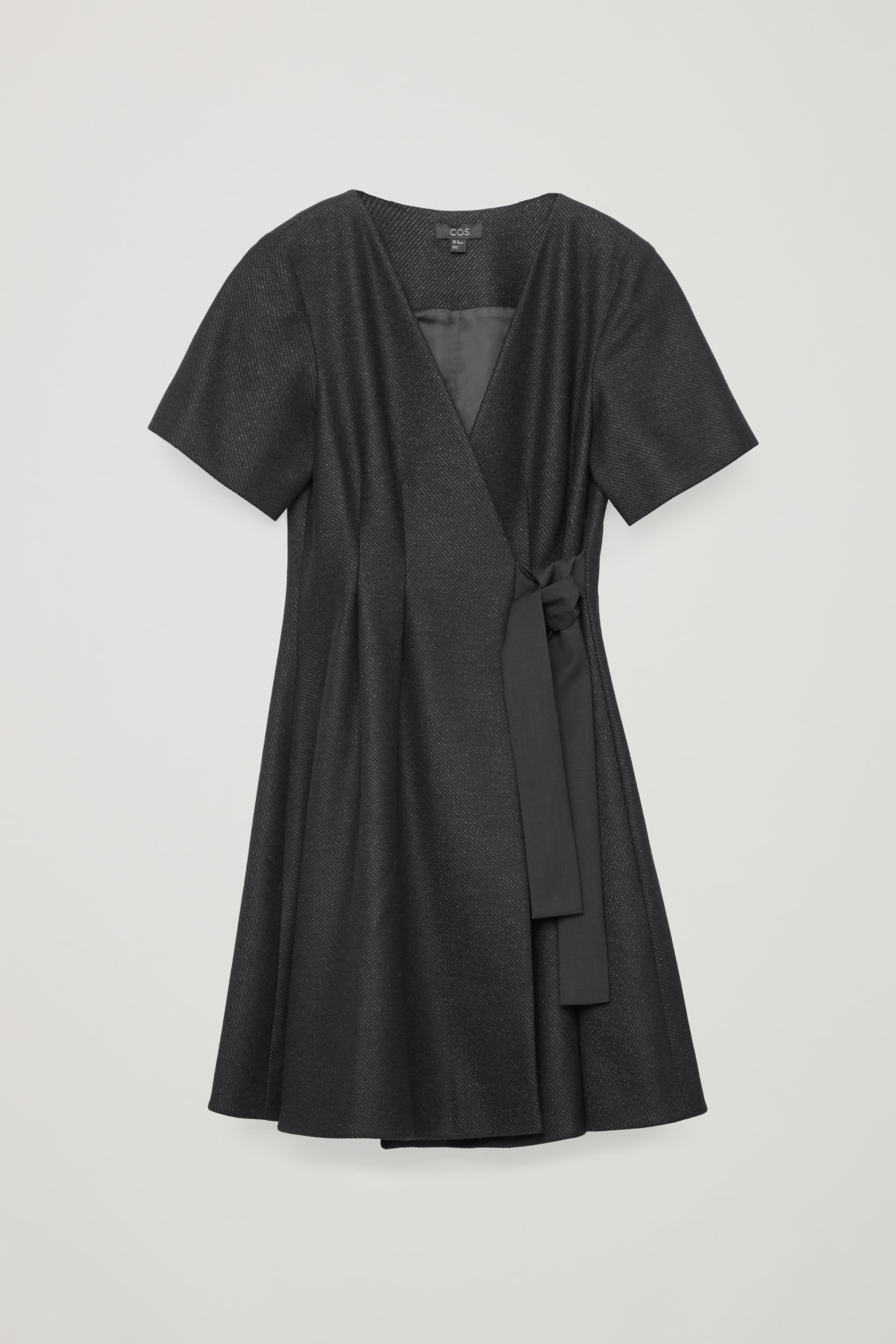 Front image of Cos tie-up wool wrap dress in grey