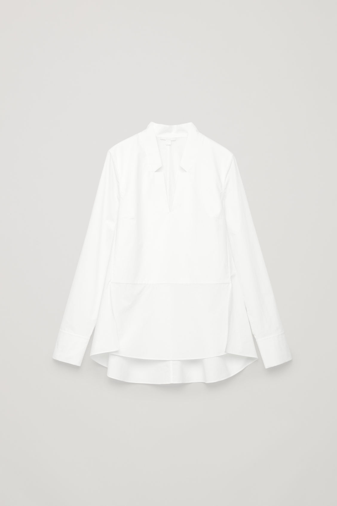 Front image of Cos lapel-detailed cotton shirt  in white