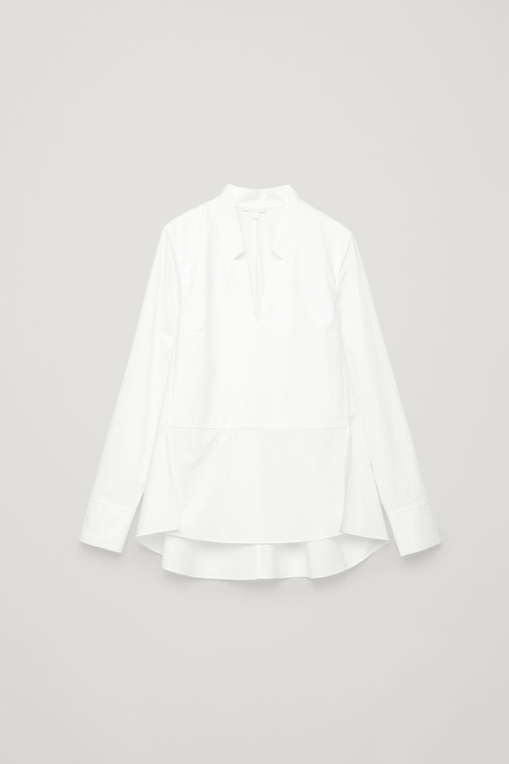 LAPEL-DETAILED COTTON SHIRT