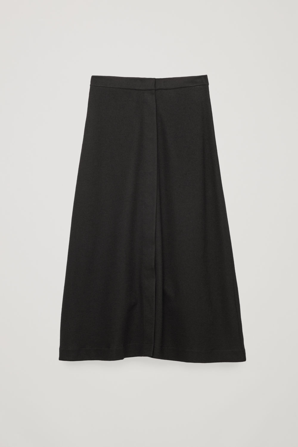 Front image of Cos long wool-cotton skirt in black
