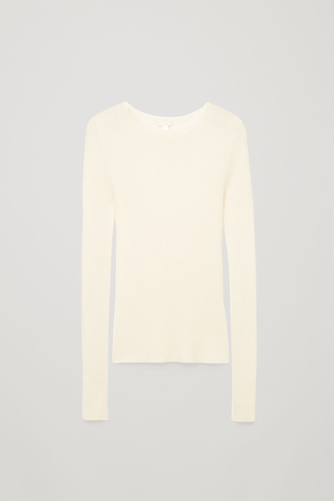 Front image of Cos ribbed fine-knit cashmere top in neutral