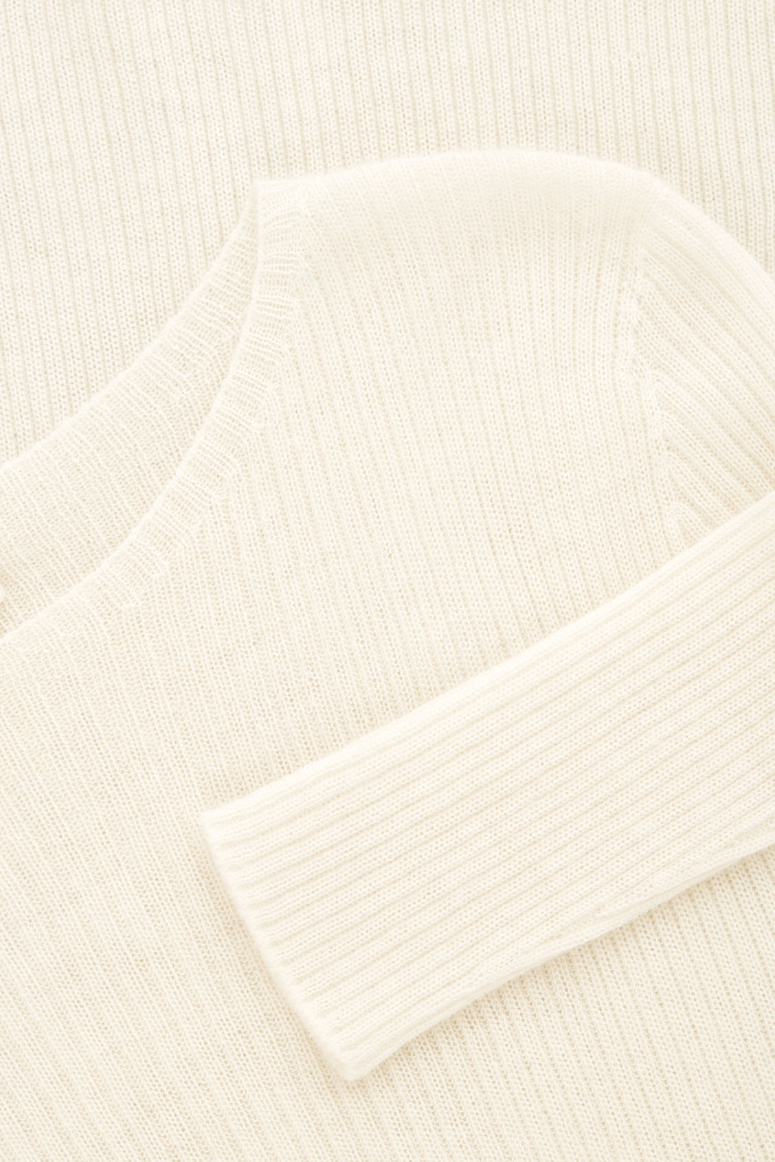 Side image of Cos ribbed fine-knit cashmere top in neutral