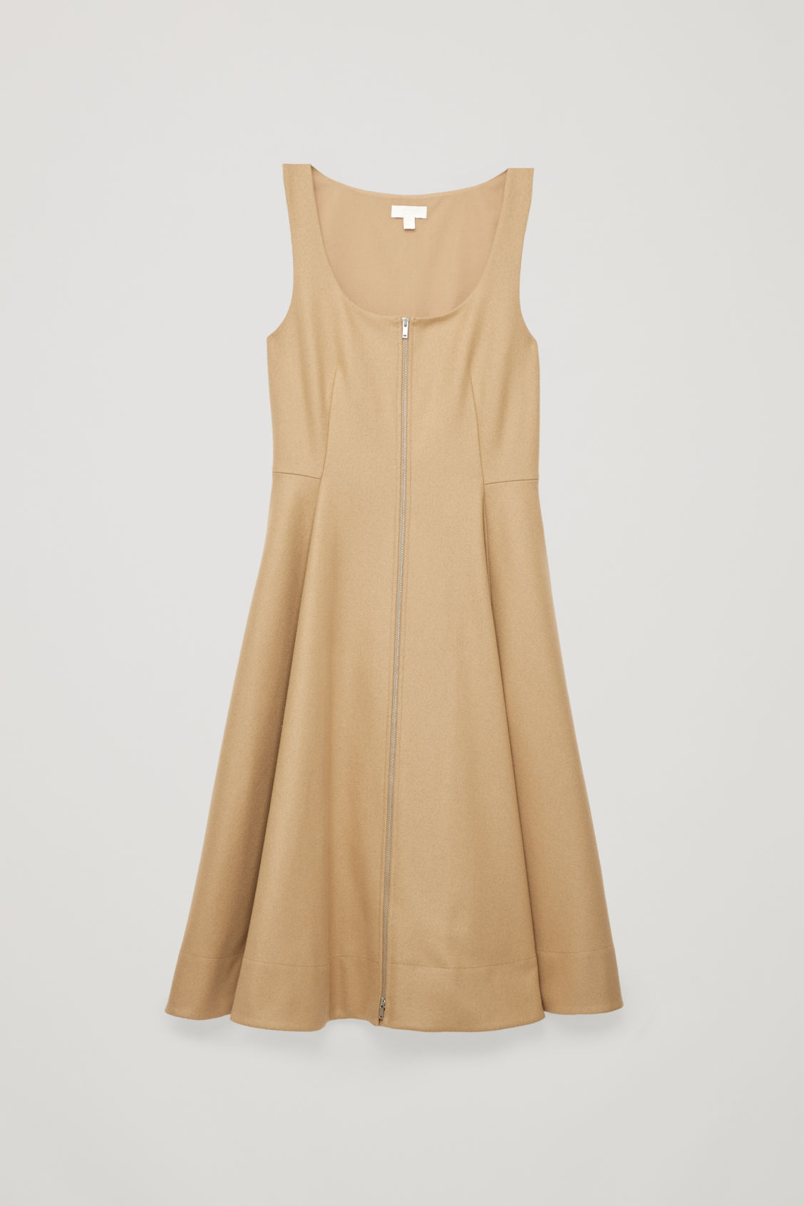 Front image of Cos wool-cashmere a-line dress in beige