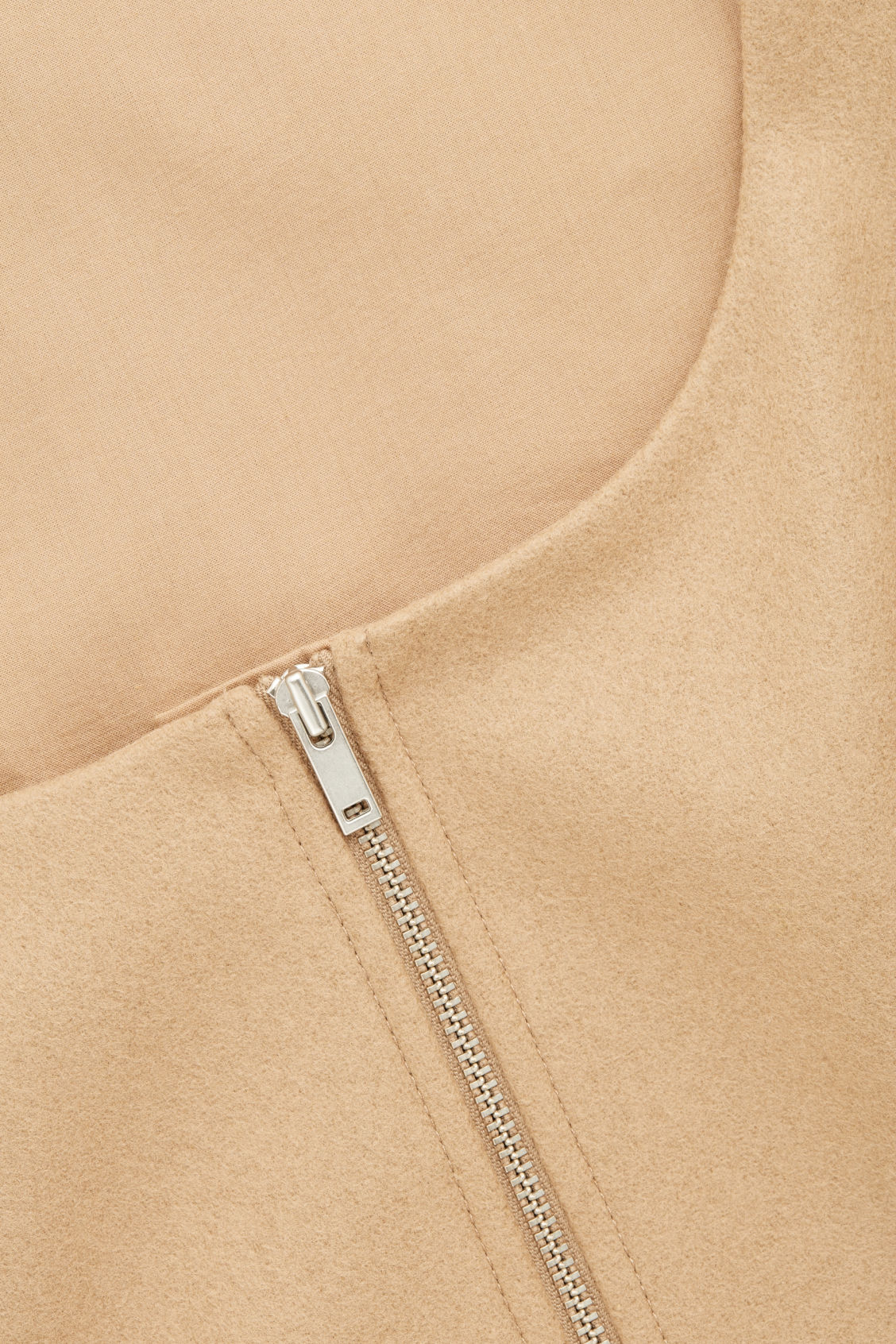 Side image of Cos wool-cashmere a-line dress in beige