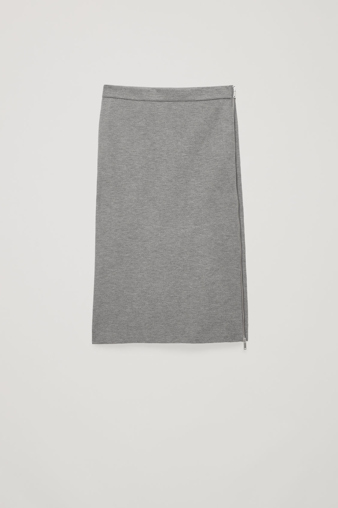 Front image of Cos hidden-panel zip jersey skirt in grey