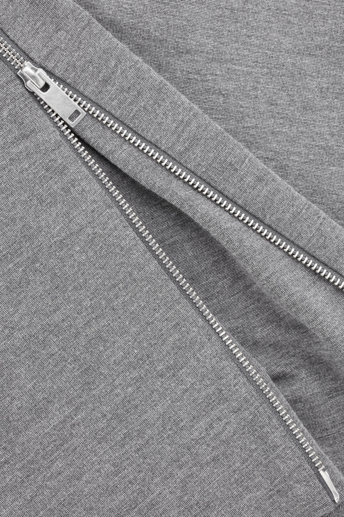 Side image of Cos hidden-panel zip jersey skirt in grey