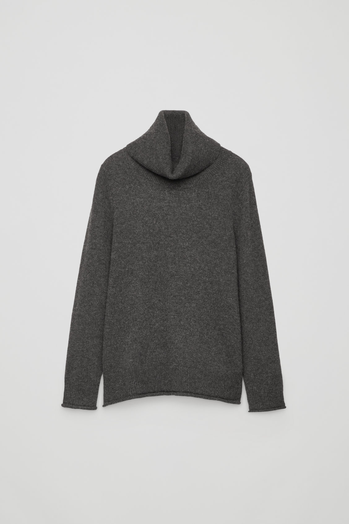 Front image of Cos cashmere roll-neck jumper in grey