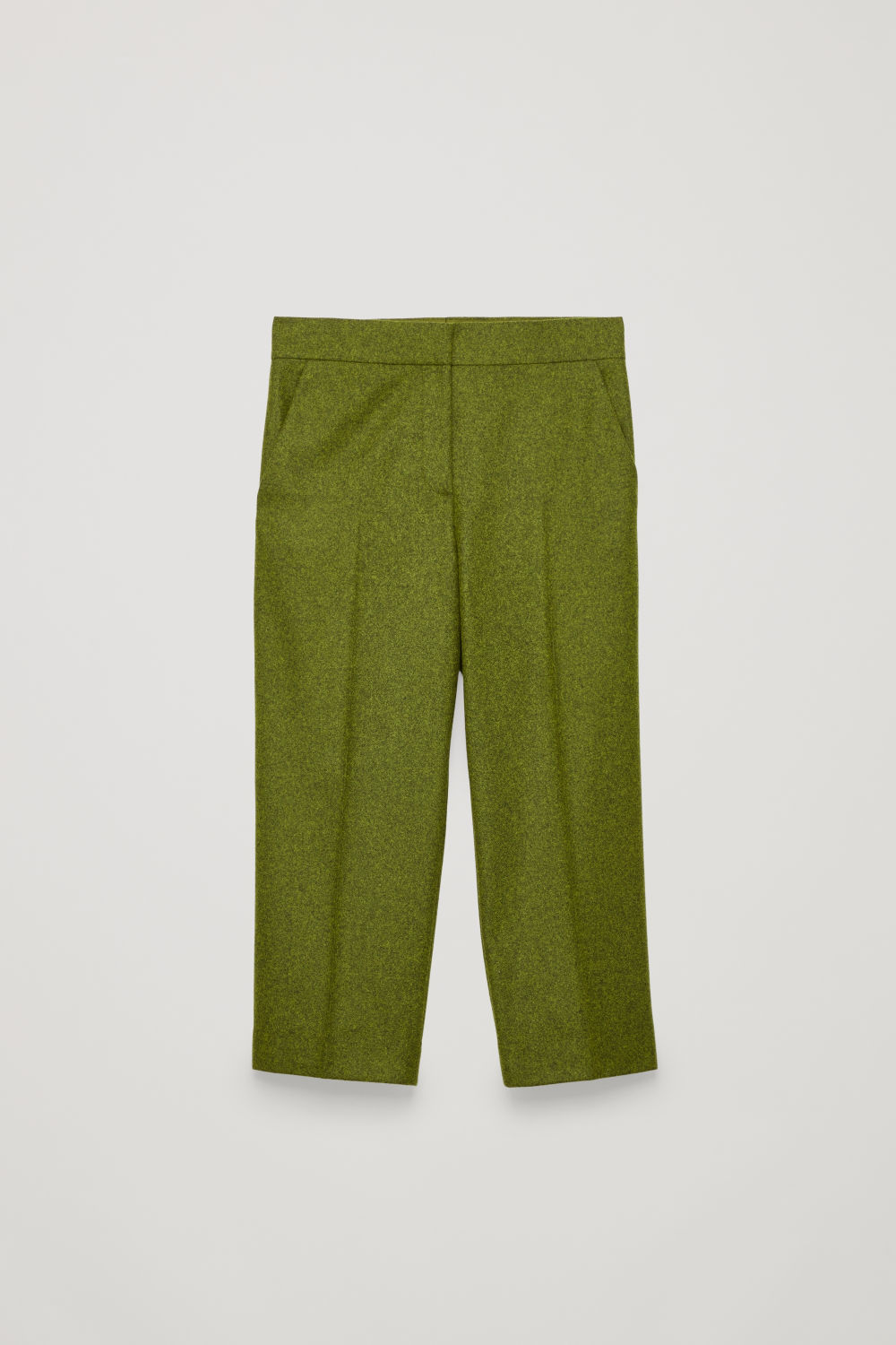 CROPPED MELANGE-WOOL TROUSERS