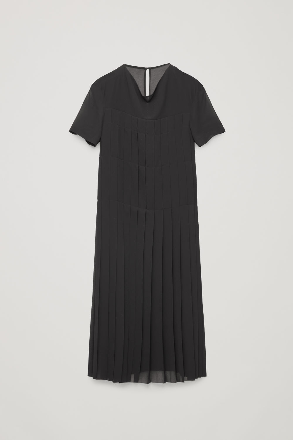 DRAPED-NECK PLEATED DRESS