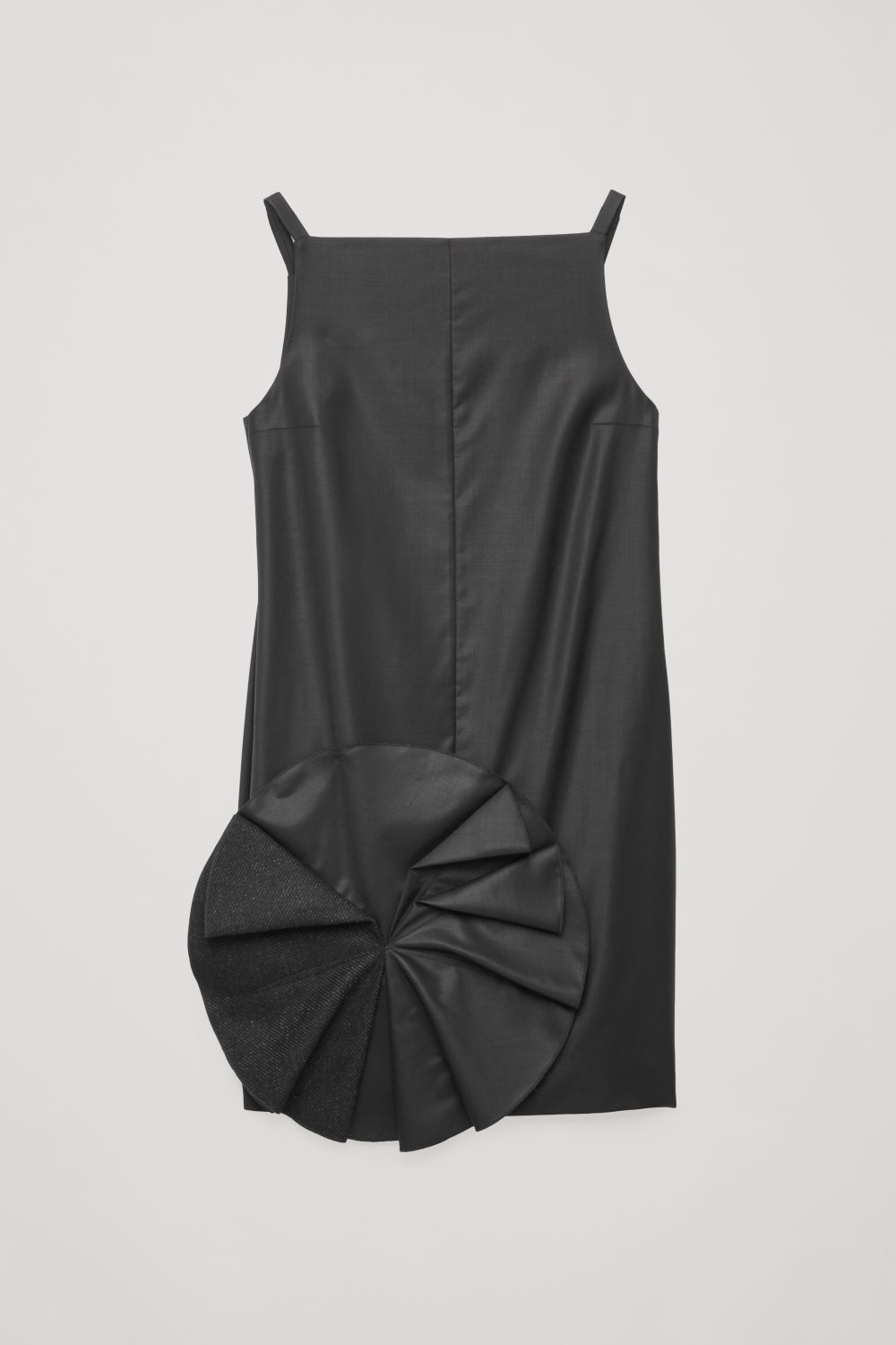 Front image of Cos applique short wool dress  in black