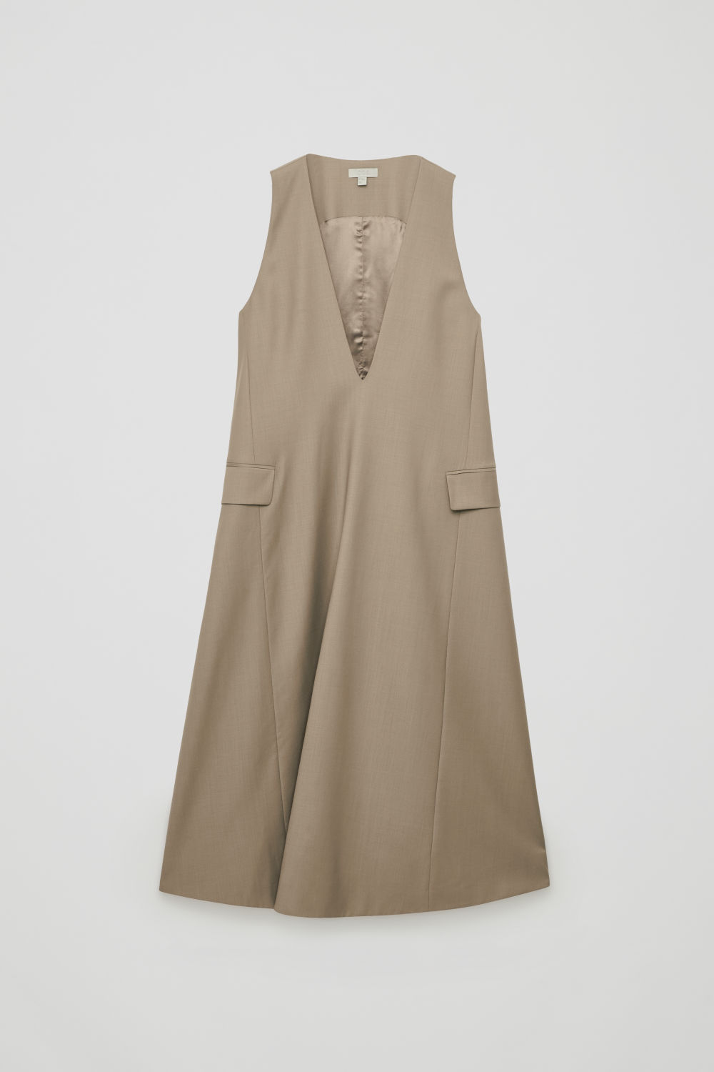 Front image of Cos long tailored wool a-line dress in beige