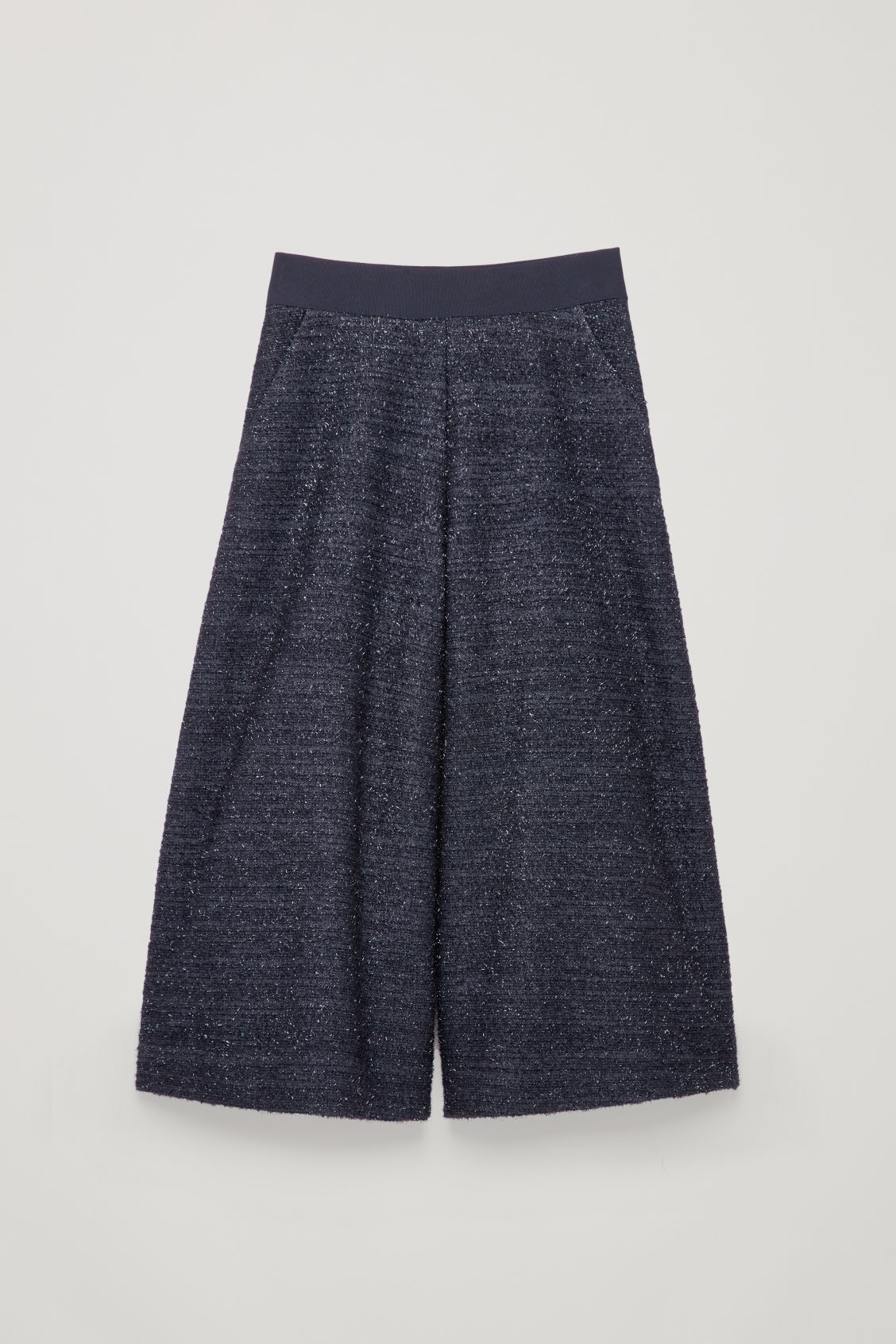 Front image of Cos wide-leg tinsel culottes in blue