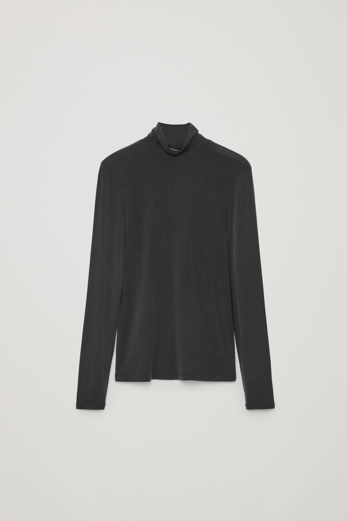 Front image of Cos slim polo-neck top in black