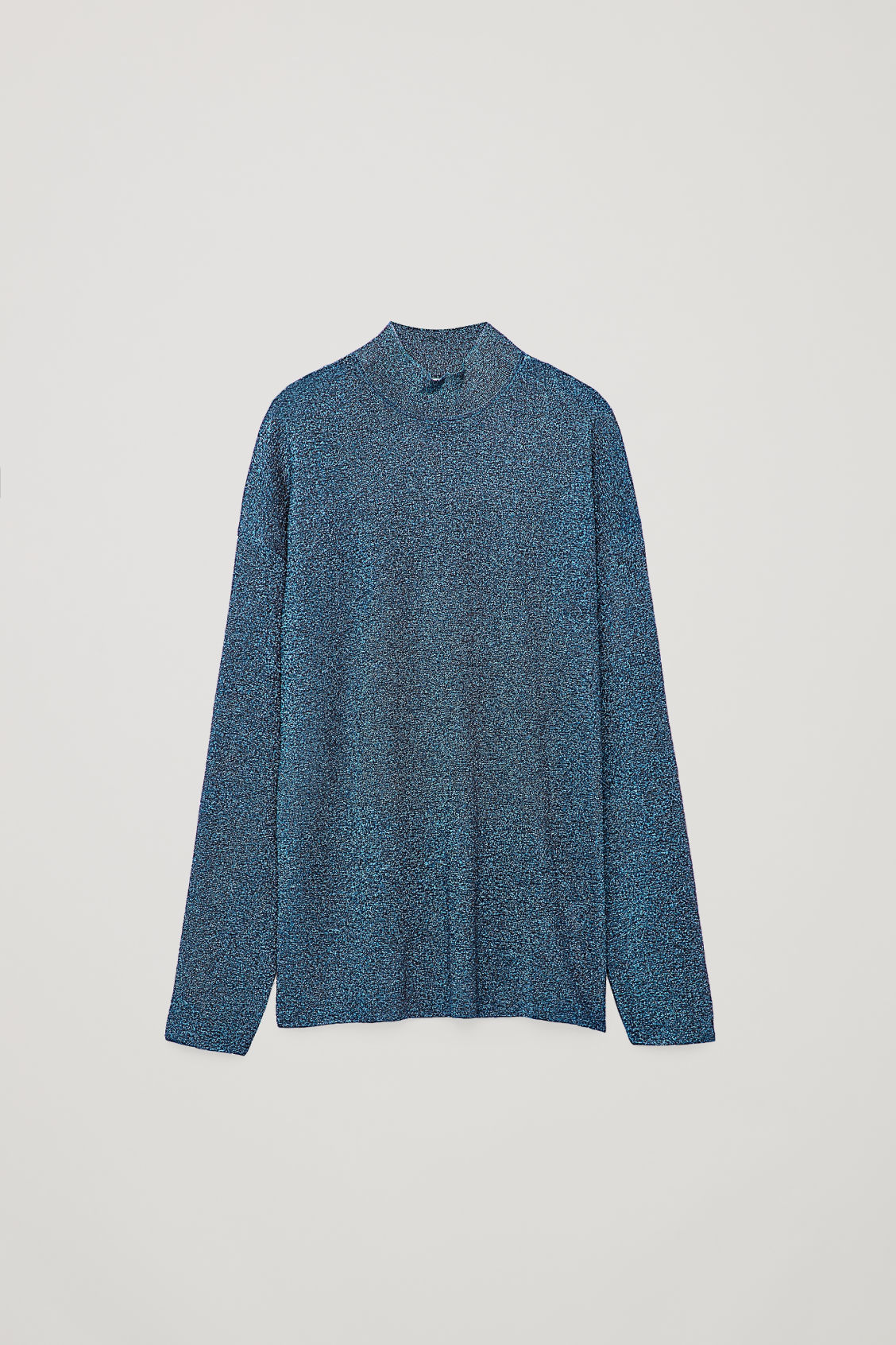 Front image of Cos metallic sheer high-neck knit top in blue