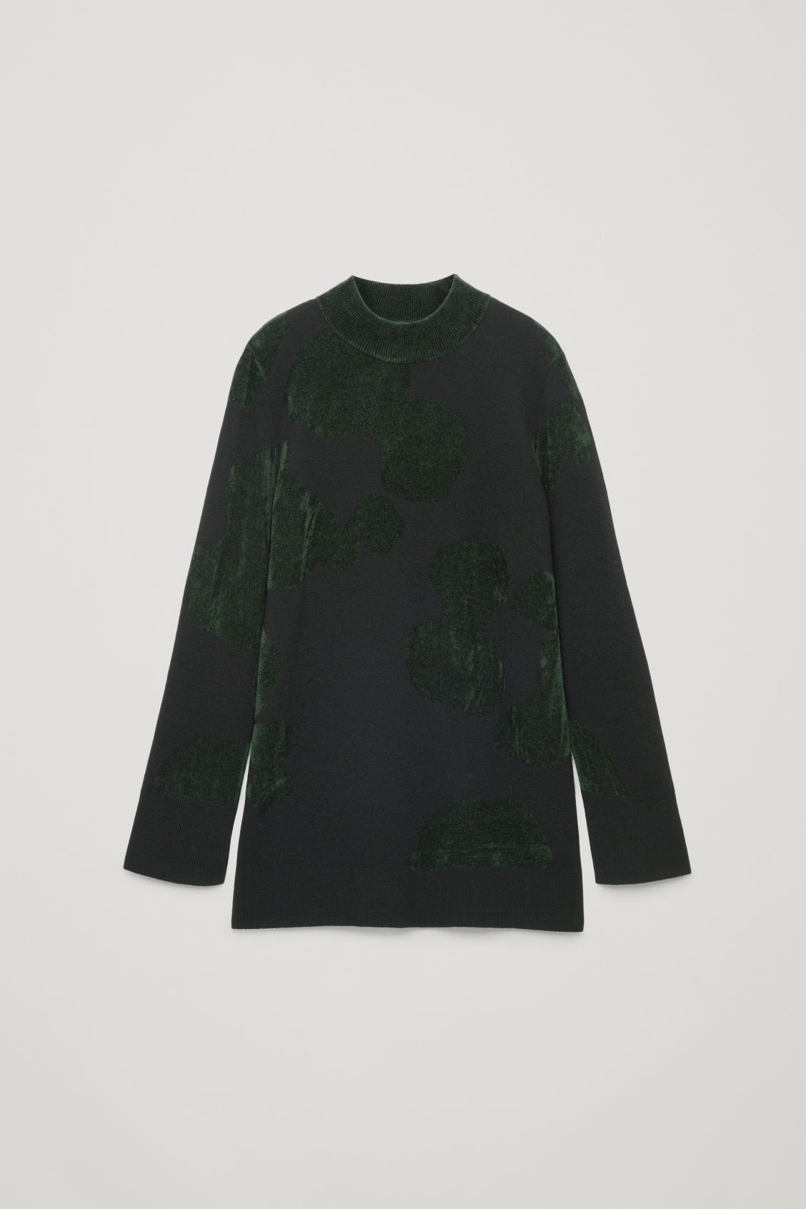 Front image of Cos chenille-pattern tunic jumper in black