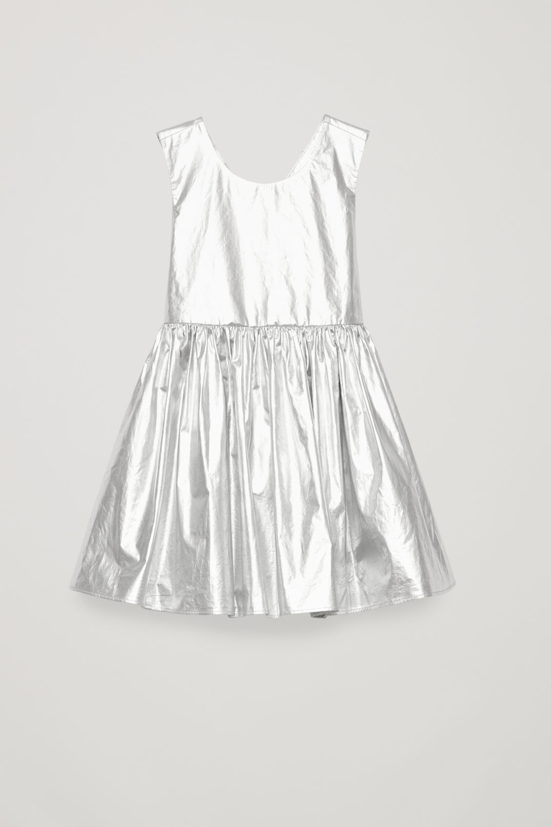 Front image of Cos metallic dress in grey