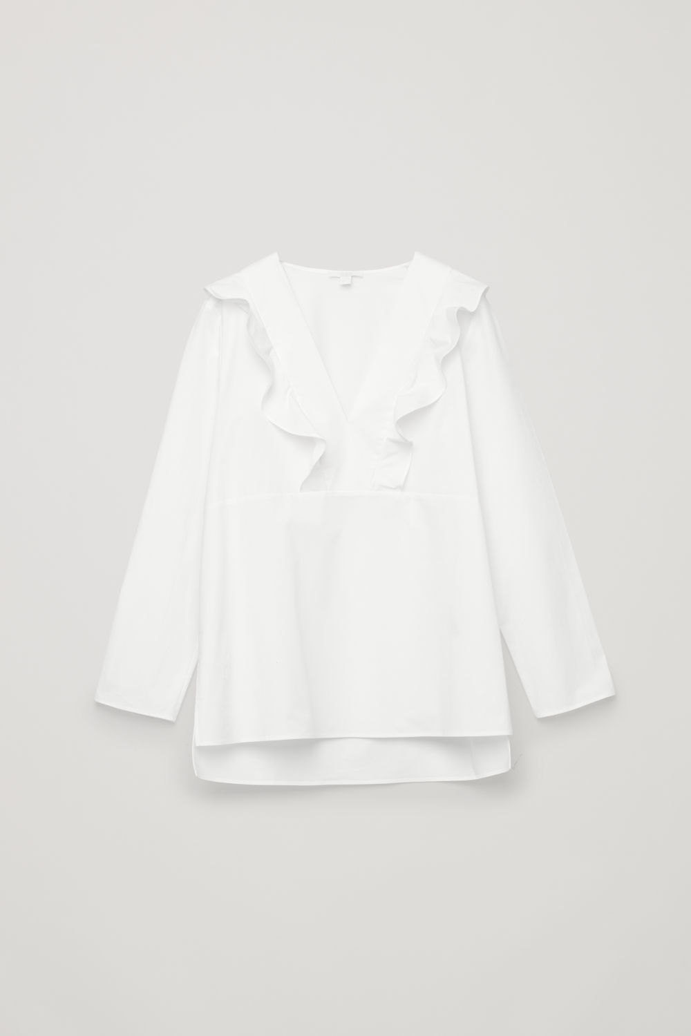 FRILL STRETCH-POPLIN BLOUSE