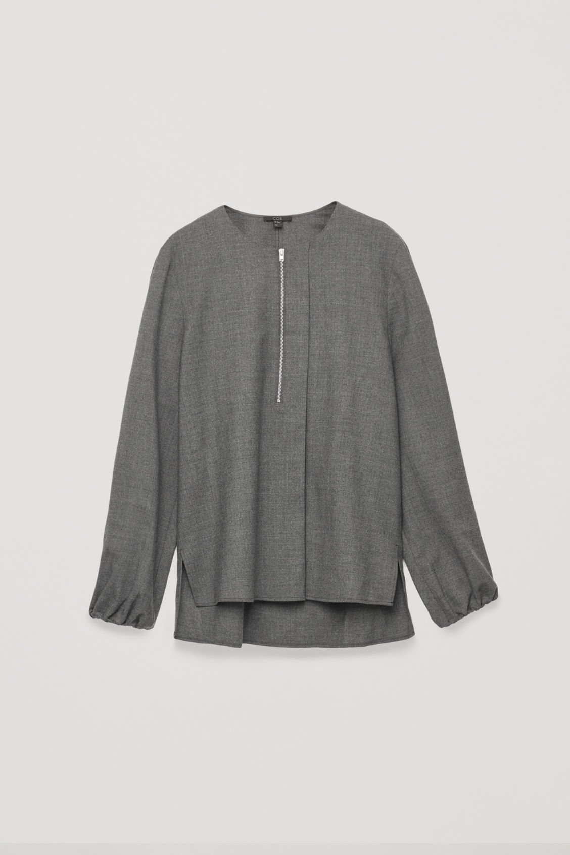 Front image of Cos zip-front wool blouse  in grey