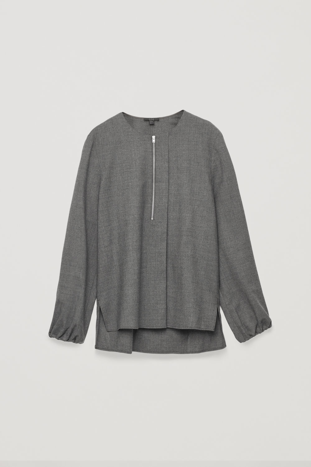 ZIP-FRONT WOOL BLOUSE