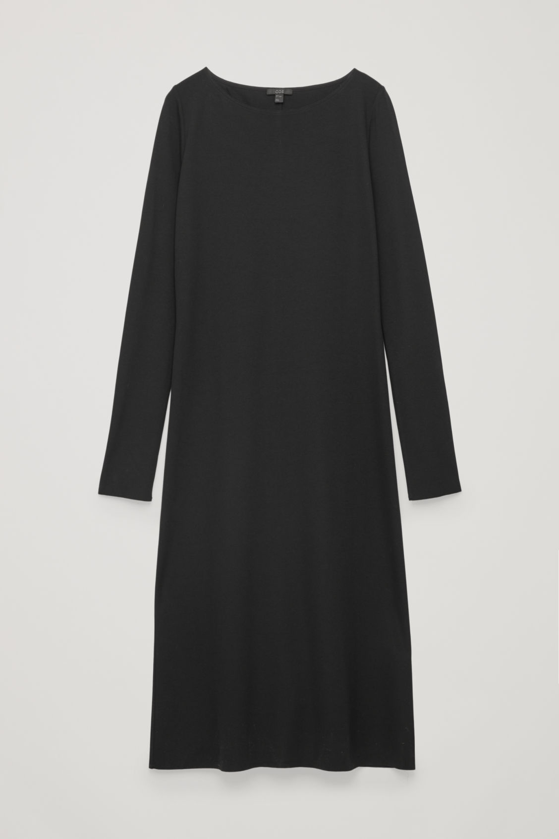 Front image of Cos slim mid-length jersey dress in black