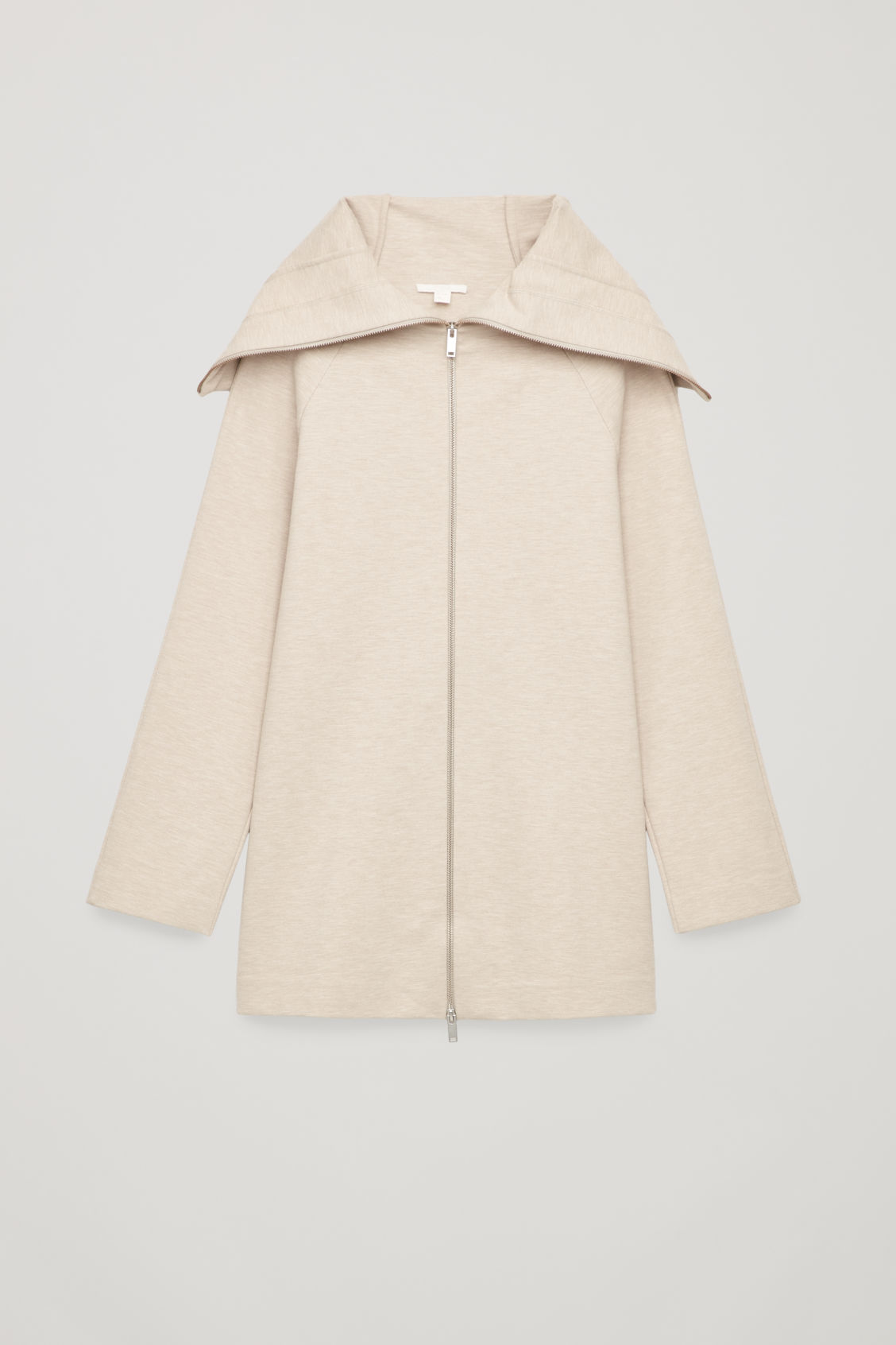 Front image of Cos jersey zip-up jacket with cape in beige