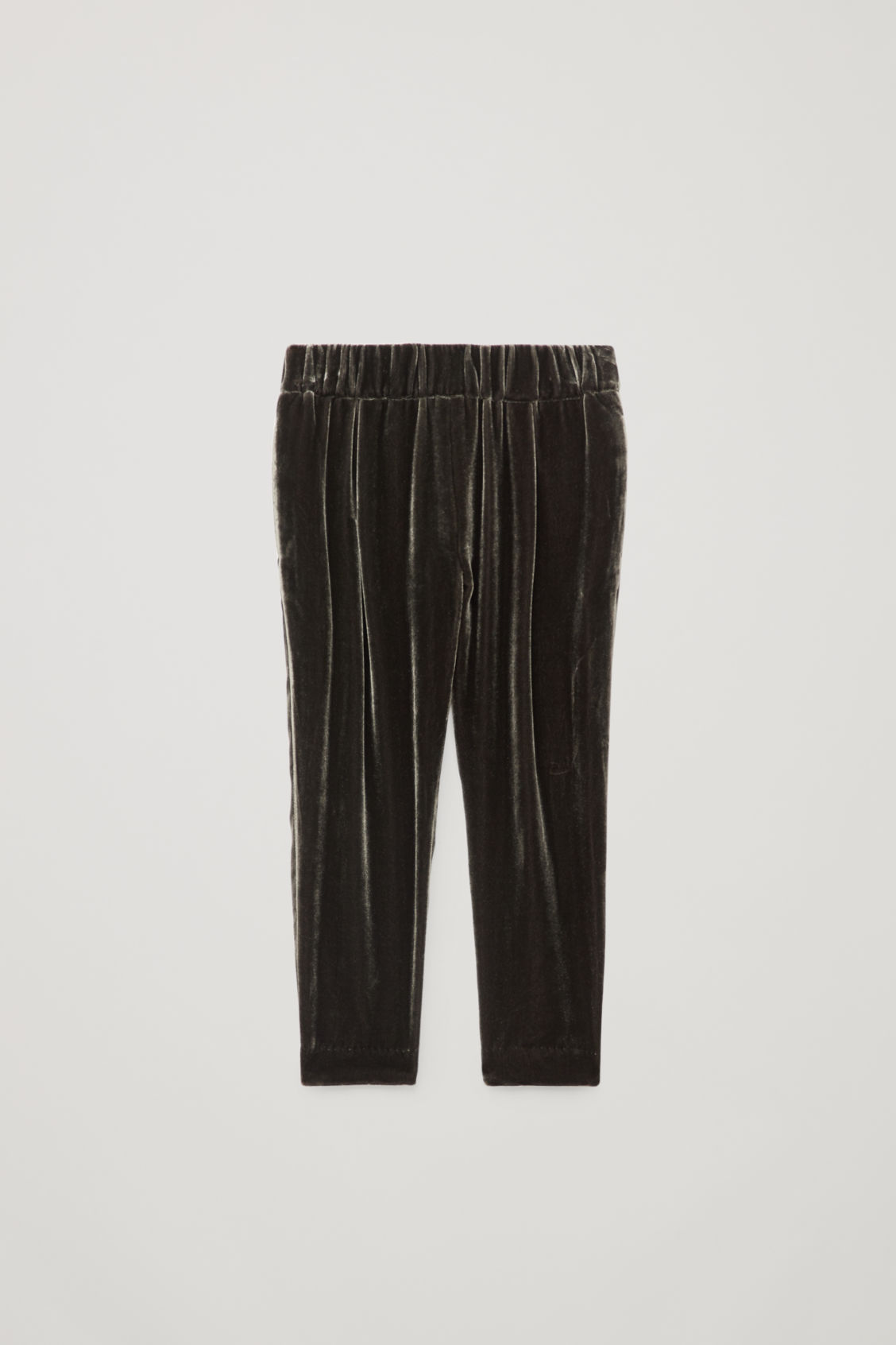 Front image of Cos velvet pleated trousers in grey