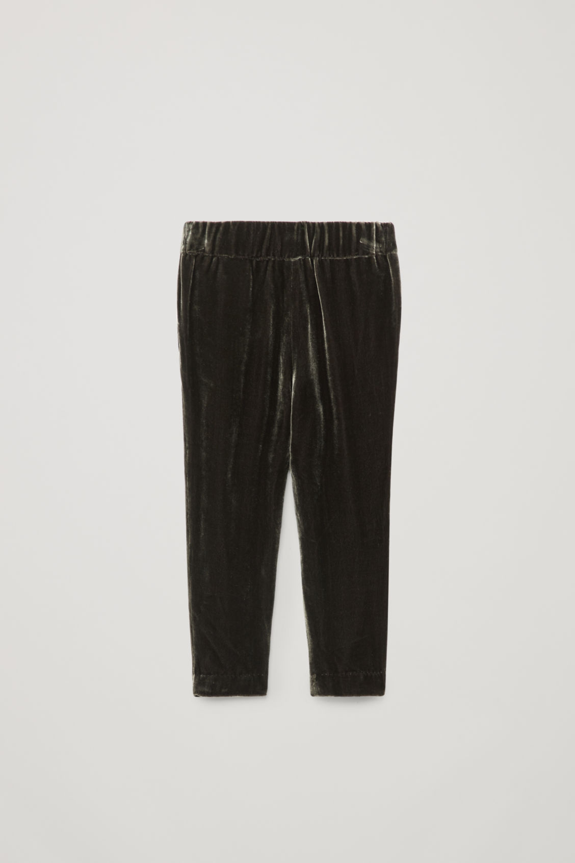Side image of Cos velvet pleated trousers in grey