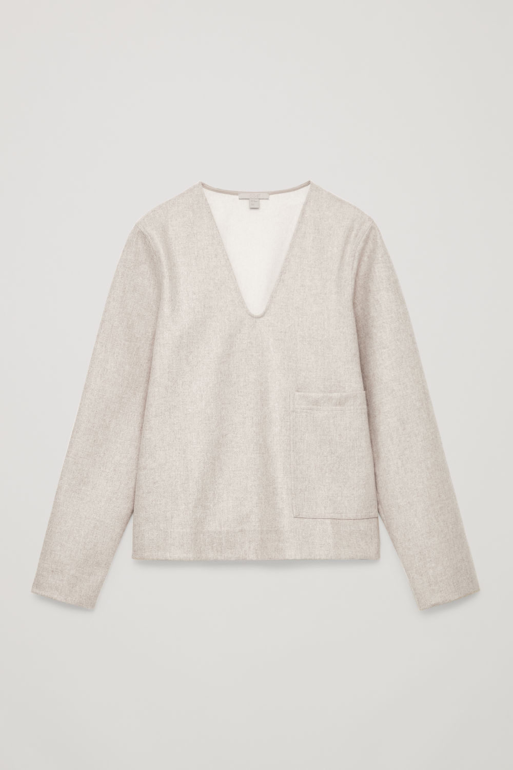 DEEP V-NECK WOOL BLOUSE