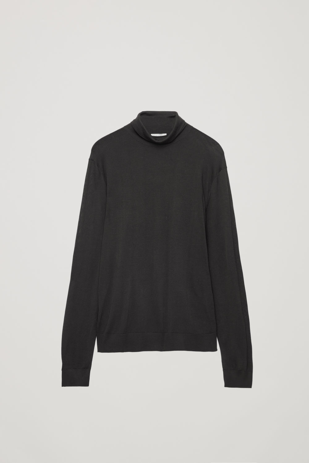 Front image of Cos silk-merino roll-neck jumper in brown