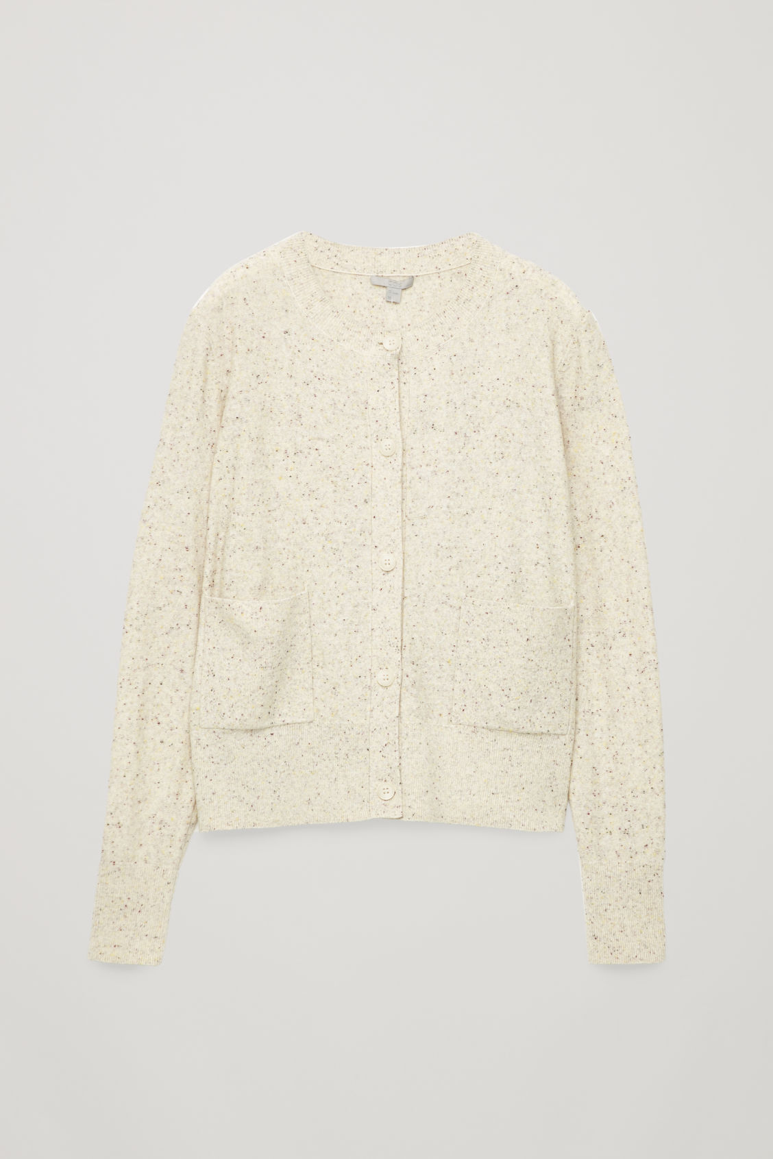 Front image of Cos speckled cardigan with pockets in white