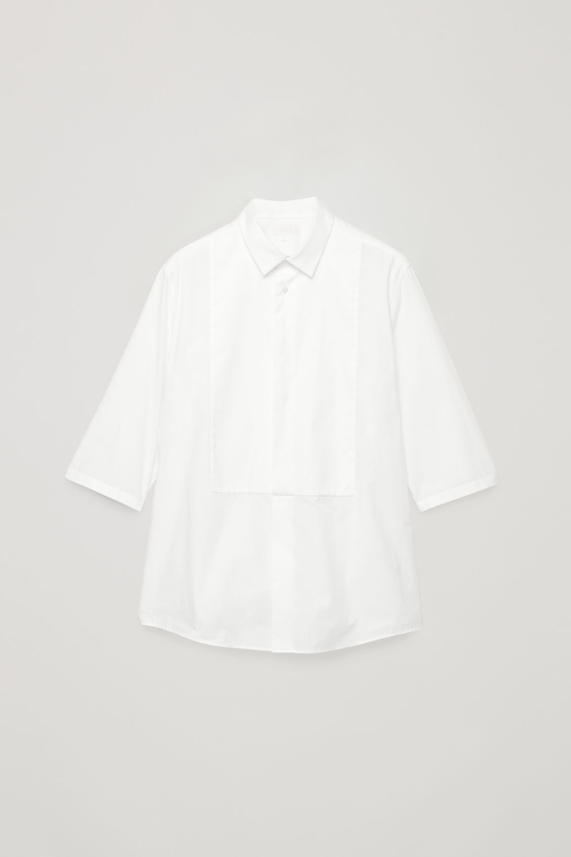 Front image of Cos ¾-sleeved cotton shirt in white