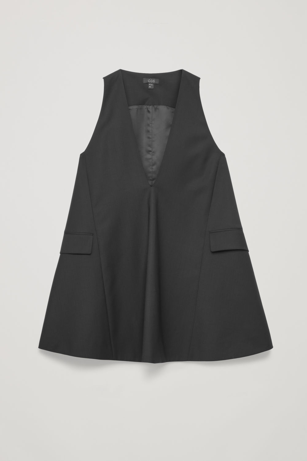 Front image of Cos tailored wool a-line dress in black