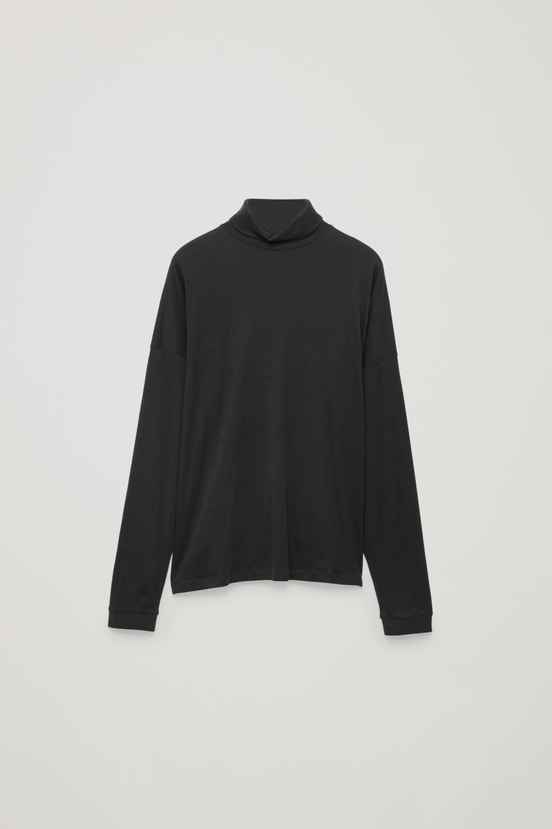 Front image of Cos cotton roll-neck  jumper in black