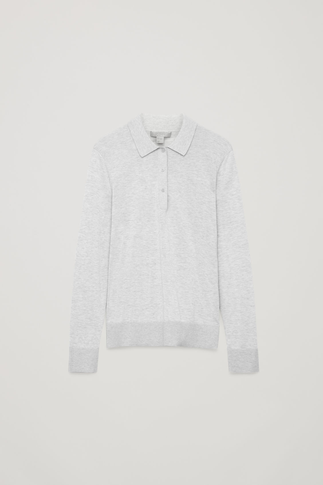 Front image of Cos silk-cotton polo-neck top in grey