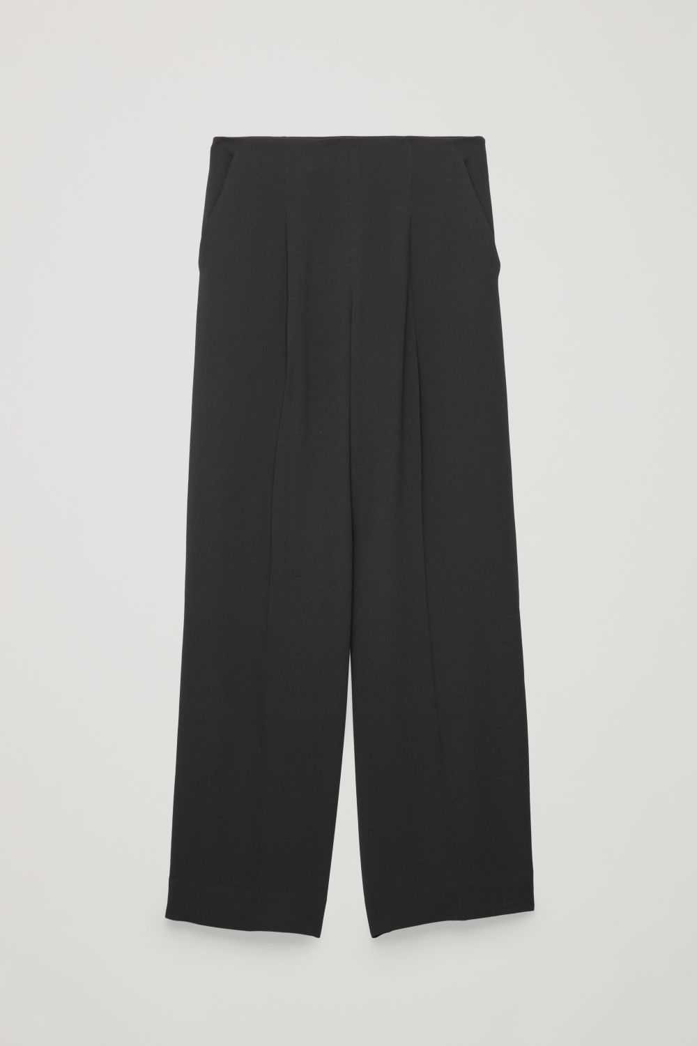 ELASTIC-DETAIL FLARED TROUSERS