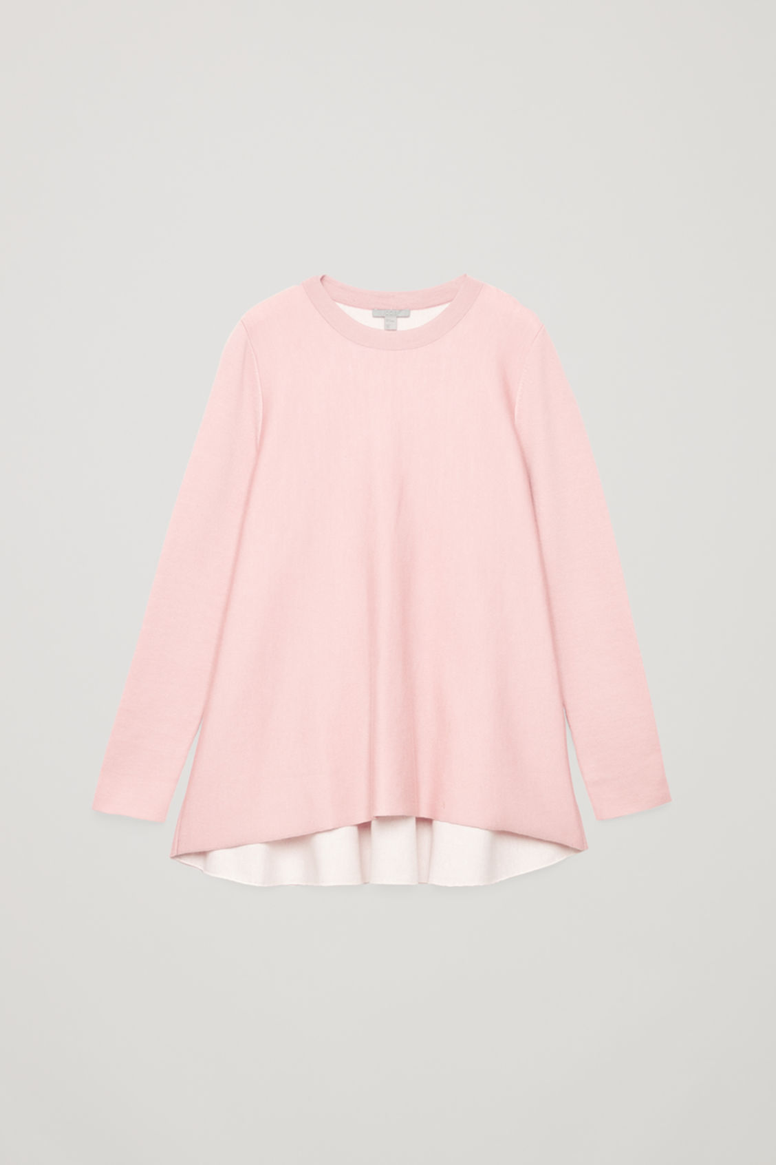 Front image of Cos double-face merino wool jumper in pink