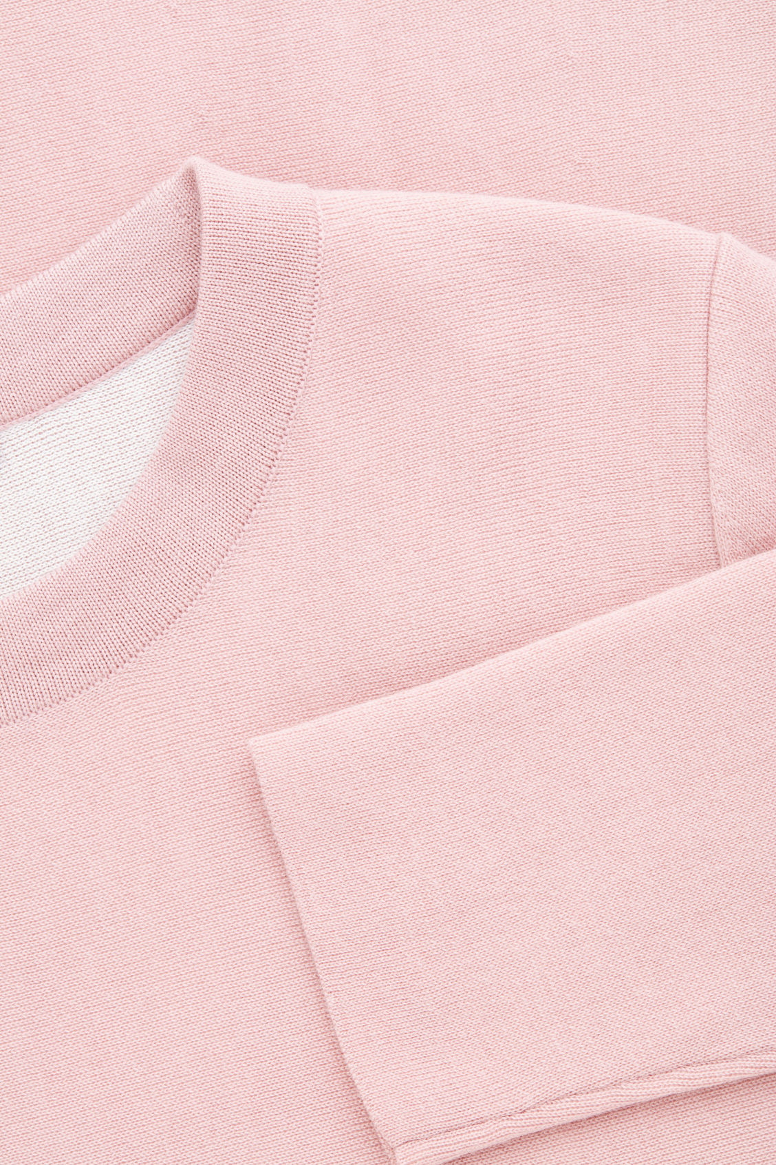 Side image of Cos double-face merino wool jumper in pink
