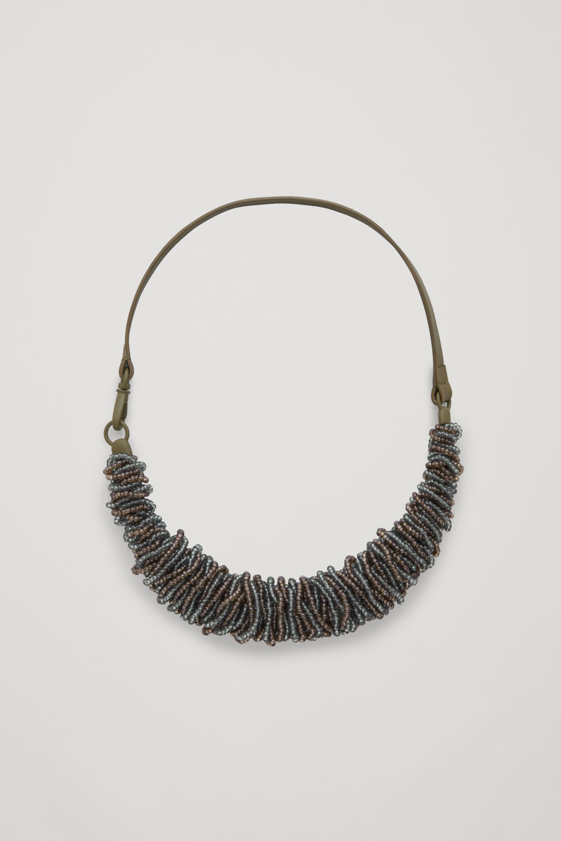 Front image of Cos leather beaded necklace  in green