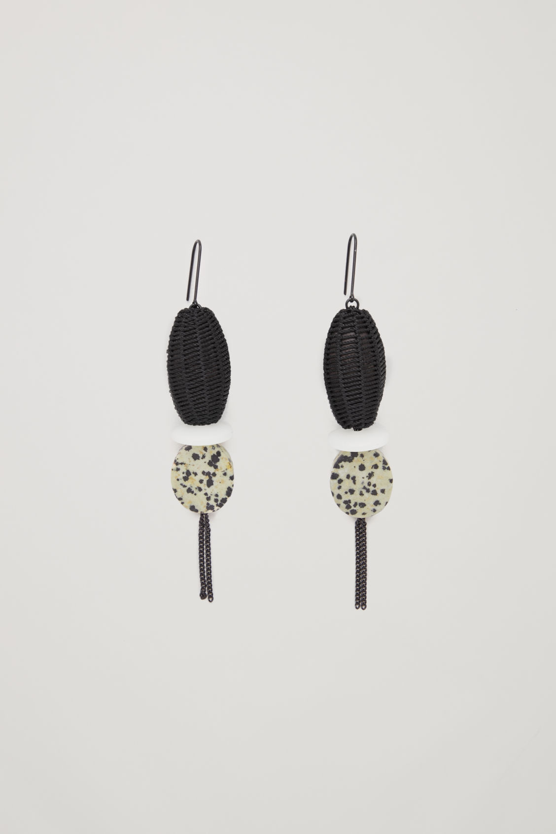 Front image of Cos mix-material drop earrings in black