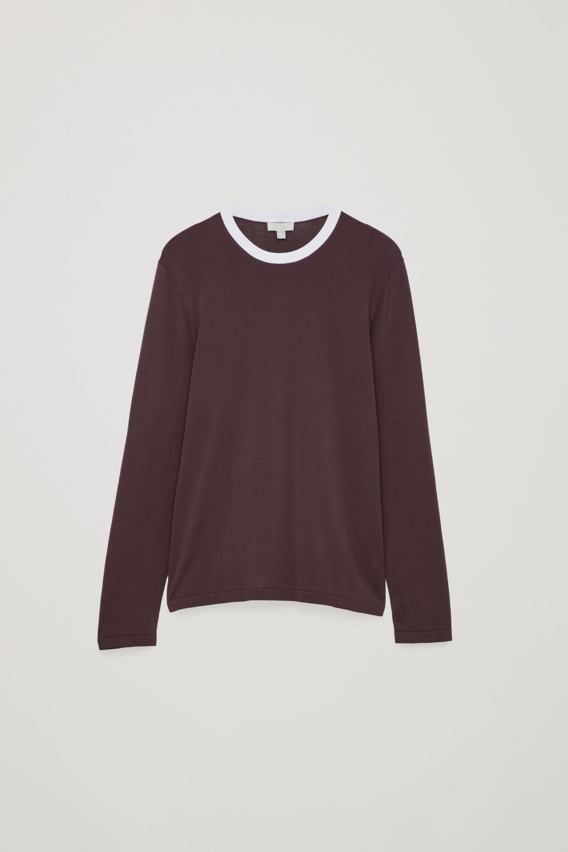 Front image of Cos knitted colour-block top in red