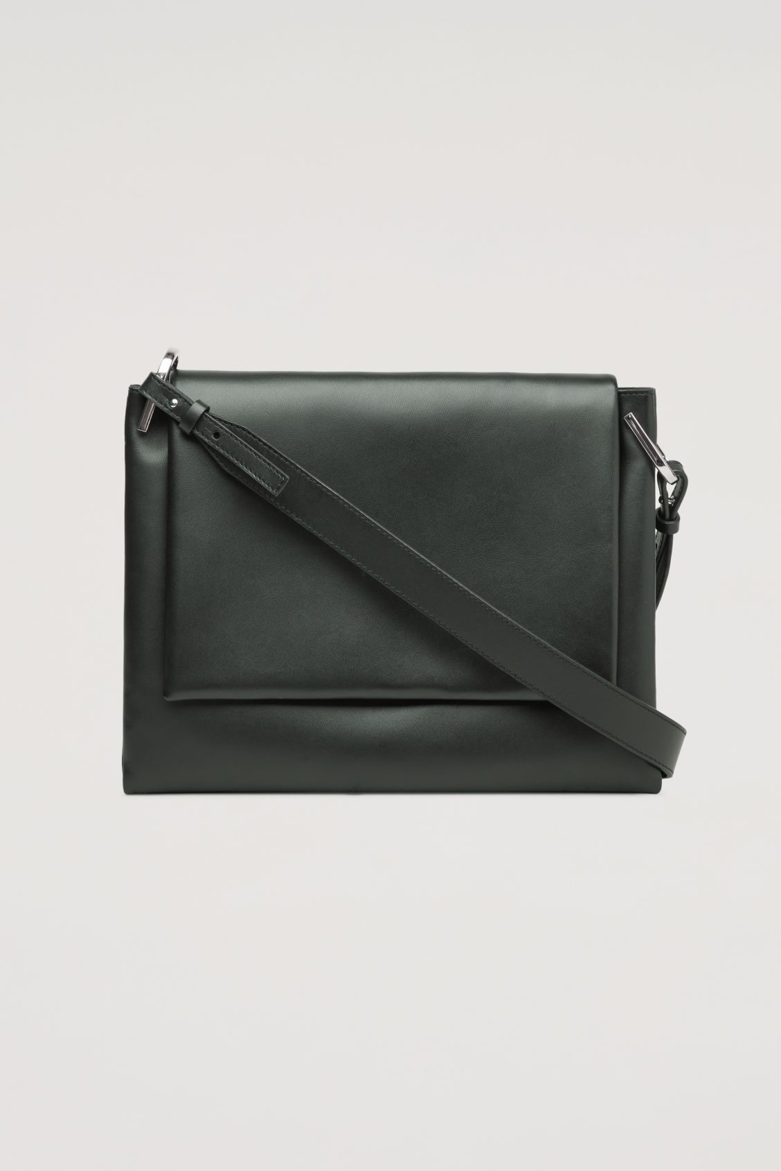 Front image of Cos triple leather shoulder bag in black