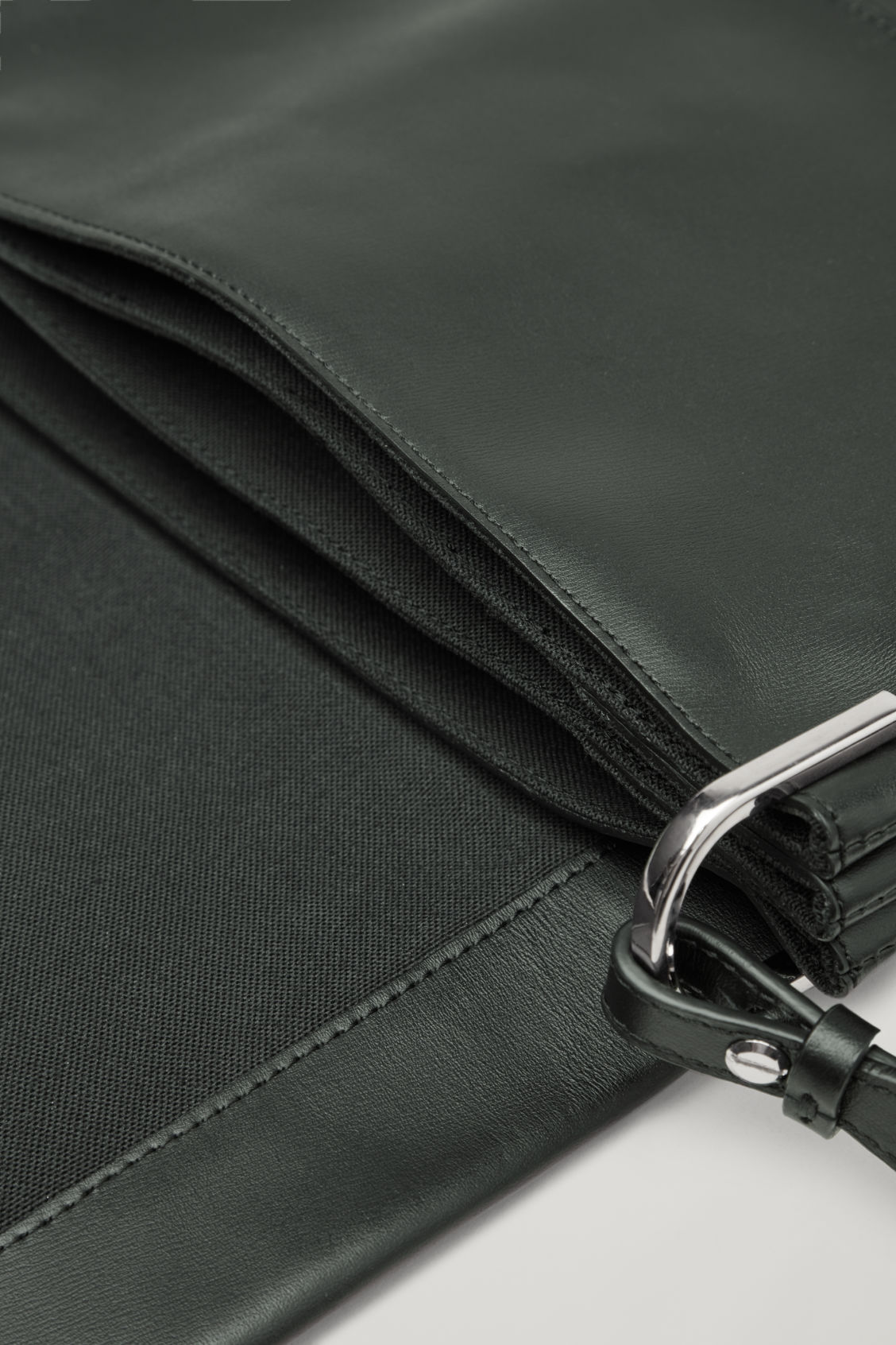 Side image of Cos triple leather shoulder bag in black