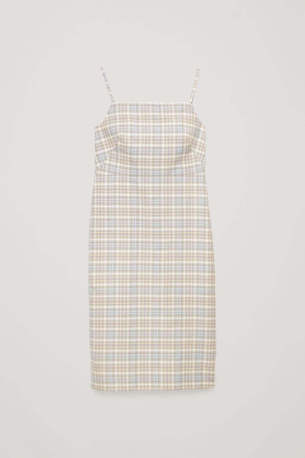 Front image of Cos checked mid-length slip dress  in white