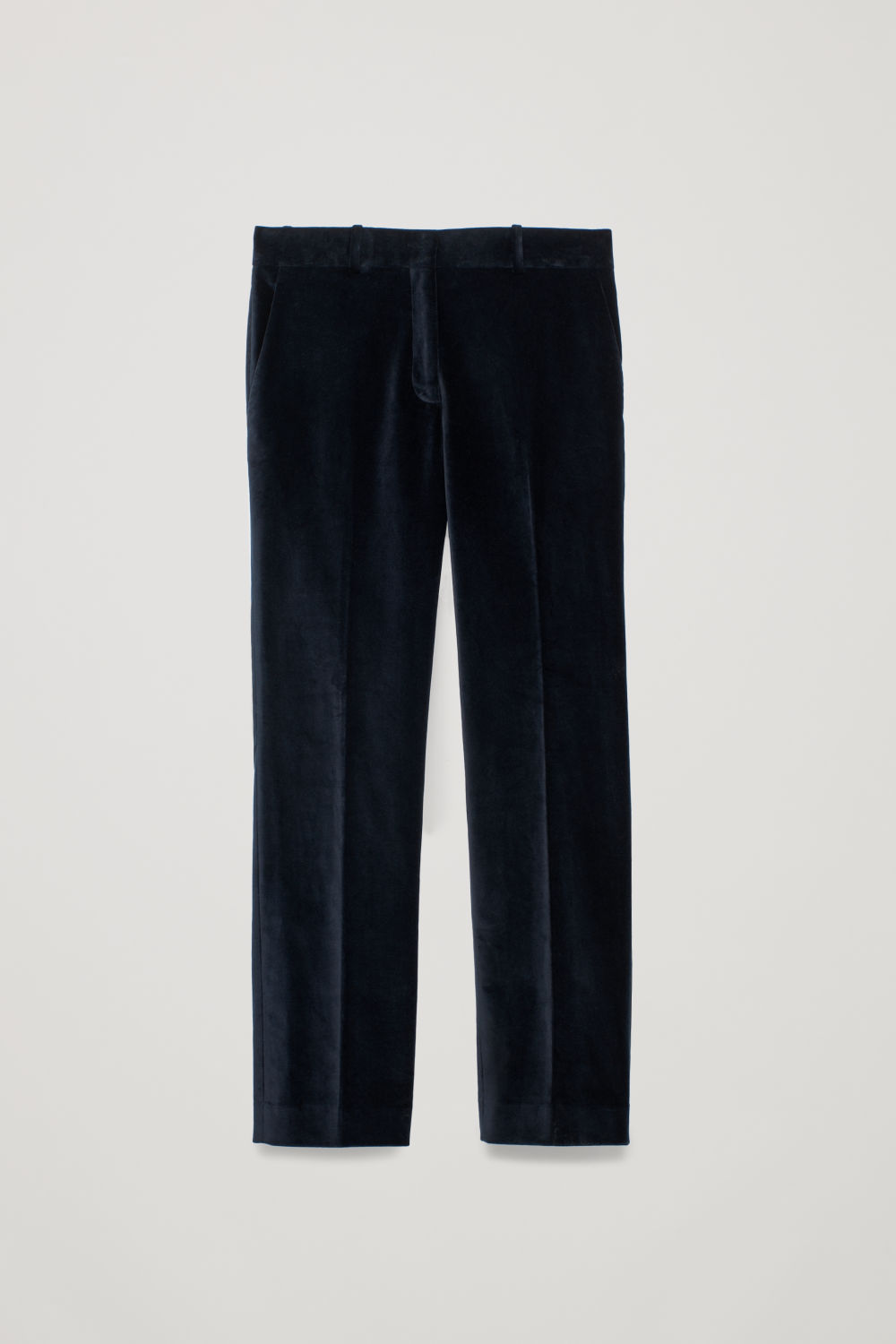 Front image of Cos kick-flare velvet trousers in blue